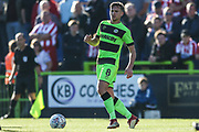 Forest Green Rovers Dayle Grubb(8) on the ball during the EFL Sky Bet League 2 match between Forest Green Rovers and Cheltenham Town at the New Lawn, Forest Green, United Kingdom on 20 October 2018.