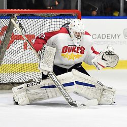 BUFFALO, NY - SEP 20,  2017: Ontario Junior Hockey League Governors Showcase game between the Toronto Jr. Canadiens and Wellington Dukes, Creed Jones #33 of the Wellington Dukesprotects the crease during the third period.<br /> (Photo by Andy Corneau / OJHL Images)