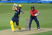 Rilee Rossouw of Hampshire hitting a boundary during the Royal London One Day Cup match between Hampshire County Cricket Club and Essex County Cricket Club at the Ageas Bowl, Southampton, United Kingdom on 23 May 2018. Picture by Dave Vokes.