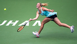 WUHAN, Sept. 24, 2017 Katerina Siniakova of the Czech Republic returns the ball during the singles' first round match against Kristina Mladenovic of France at 2017 WTA Wuhan Open in Wuhan, capital of central China's Hubei Province, on Sept. 24, 2017. Katerina Siniakova won 2-0.  wll) (Credit Image: © Xiong Qi/Xinhua via ZUMA Wire)