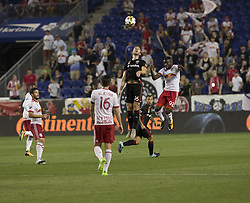September 27, 2017 - Harrison, New Jersey, United States - Kemar Lawrence (92) of Red Bulls & Patrick Mullins (16 of DC United fight for ball during regular MLS game at Red Bull Arena (Credit Image: © Lev Radin/Pacific Press via ZUMA Wire)
