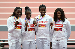Daryll Neita, Dina Asher-Smith, Desiree Henry and Asha Philip of Great Britain pose with their silver medals - Mandatory byline: Patrick Khachfe/JMP - 07966 386802 - 13/08/2017 - ATHLETICS - London Stadium - London, England - Women's 4x100m Metres Relay Medal Ceremony - IAAF World Championships