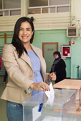 April 29, 2019 - Madrid, Spain - Begoña Villacis of Ciudadanos Match their ballots at a polling station in Madrid during general elections in Spain on April 28, 2019. - Spain returned to the polls for unpredictable snap marked by the resurgence of the far-right after more than two decades outer margins of politics. (Credit Image: © Oscar Gonzalez/NurPhoto via ZUMA Press)