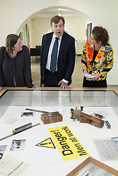 © Licensed to London News Pictures . 17/07/2015 . Manchester , UK . JOHN WHITTINGDALE OBE (c), MP for Maldon and Secretary of State for Culture Media and Sport , visits the newly extended and refurbished Whitworth Art Gallery , in Manchester . The venue has been  nominated for this year's (2015) Riba Stirling Prize for the UK's best new building . Photo credit: Joel Goodman/LNP