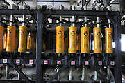 Desalination plant. Preliminary salt removal filters, This facility turns salt water into drinking water using the Reverse Osmosis Process and will produce 127 million cubic metres of fresh water each year. Photographed in Hadera, Israel.