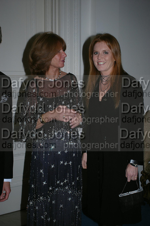 The Ambassador of Italy wife Mrs. Aragona, the Duchess of York, the Duchess of York,  An Evening in honour of Salvatore Ferragamo hosted by the Ambassador of Italy. The Italian Embassy, 4 Grosvenor Square. London W1. 8 June 2005. ONE TIME USE ONLY - DO NOT ARCHIVE  © Copyright Photograph by Dafydd Jones 66 Stockwell Park Rd. London SW9 0DA Tel 020 7733 0108 www.dafjones.com