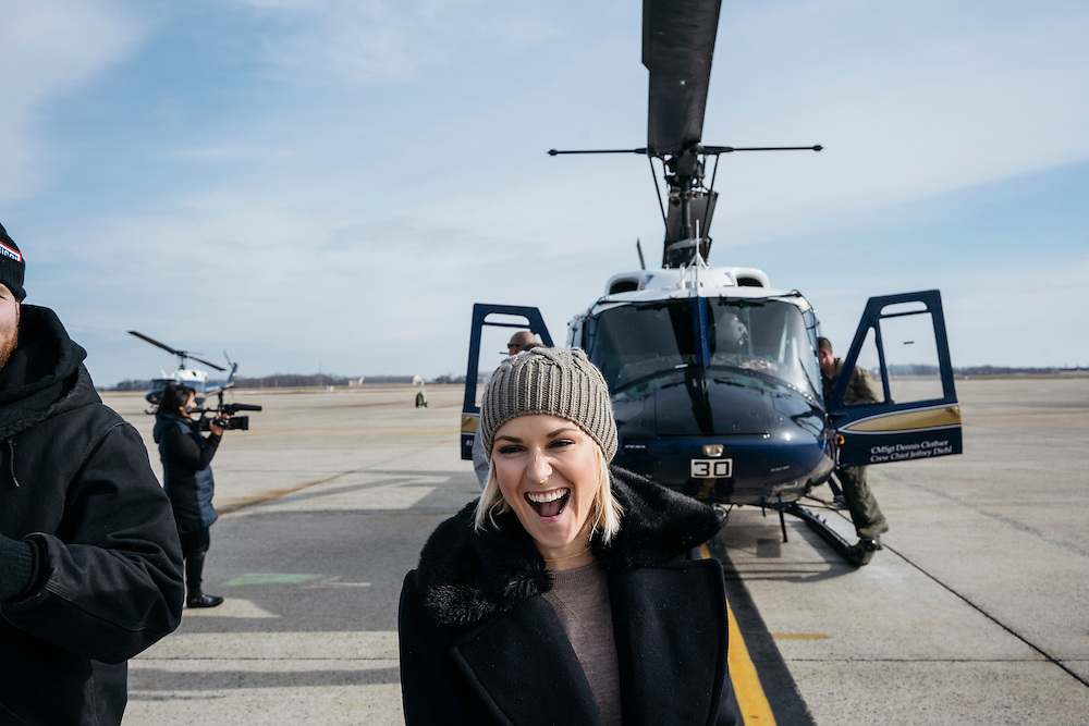 Prince George's County, MD - December  13, 2016:  WWE on air personality Renee Young shows her excitement after a helicopter tour of Washington, D.C. during Tribute to the Troops Day at the Joint Base Andrews in Prince George's County, Maryland.  WWE Superstars will spend time with members of all five branches of the military.  WWE began Tribute to the Troops in 2003 as a way to honor our servicemen and women and their families.   (Greg Kahn for ESPN)