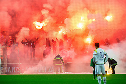 Viole, fans of Maribor celebrate with pyrotechnic firework  after scoring second goal during football match between NK Olimpija Ljubljana and NK Maribor in 15th Round of Prva liga Telekom Slovenije 2015/16, on November 21, 2015 in SRC Stozice, Ljubljana, Slovenia. Photo by Vid Ponikvar / Sportida