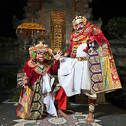 Rahwana demon and Marica characters of the Taman Kaja troup  posing after a show in Pura Dalem, Ubud, Bali, Indonesia