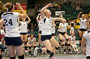 Andy Hancock (13) of Bonneville celebrates a point during the Utah State High School Volleyball 4A tournament match between Bonneville and Westlake, Friday, Nov. 2, 2012.