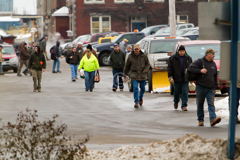 shift workers leaving Bath Iron Works