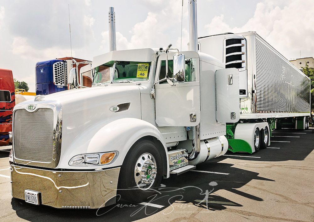 Chance 2 Transport's Peterbilt 386 is displayed at the 34th annual Shell Rotella SuperRigs truck beauty contest, June 11, 2016, in Joplin, Missouri. SuperRigs, organized by Shell Oil Company, is an annual beauty contest for working trucks. Approximately 89 trucks entered this year's competition. (Photo by Carmen K. Sisson/Cloudybright)
