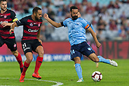 SYDNEY, AUSTRALIA - APRIL 13: Sydney FC forward Alex Brosque (14) shoots and scores a goal at round 25 of the Hyundai A-League Soccer between Western Sydney Wanderers and Sydney FC  on April 13, 2019 at ANZ Stadium in Sydney, Australia. (Photo by Speed Media/Icon Sportswire)