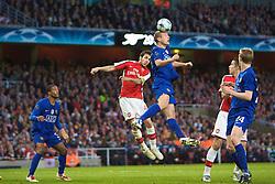 LONDON, ENGLAND - Tuesday, May 5, 2009: Arsenal's Cesc Fabregas and Manchester United's Nemanja Vidic during the UEFA Champions League Semi-Final 2nd Leg match at the Emirates Stadium. (Photo by Carlo Baroncini/Propaganda)