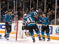 March 28, 2010; San Jose, CA, USA; San Jose Sharks center Logan Couture (39) celebrates with right wing Jed Ortmeyer (41) after scoring on Colorado Avalanche goalie Craig Anderson (not pictured) during the second period at HP Pavilion. San Jose defeated Colorado 4-3. Mandatory Credit: Jason O. Watson / US PRESSWIRE