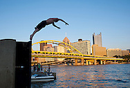 Evening swimmer on the North Shore in Pittsburgh.