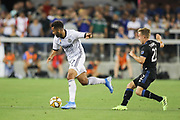 Philadelphia Union forward David Accam (7) dribbles in front of San Jose Earthquakes forward Tommy Thompson (22) during an MLS soccer match won by Philadelphia 2-1, Wednesday, Sept. 25, 2019, in San Jose, Calif. (Peter Klein/Image of Sport)
