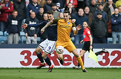 Lee Gregory of Millwall and Lewis Dunk of Brighton and Hove Albion tussle for the ball - Mandatory by-line: Arron Gent/JMP - 17/03/2019 - FOOTBALL - The Den - London, England - Millwall v Brighton and Hove Albion - Emirates FA Cup Quarter Final