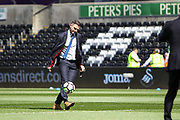 Referee Michael Oliver shows off his football skills before the Premier League match between Swansea City and Stoke City at the Liberty Stadium, Swansea, Wales on 22 April 2017. Photo by Andrew Lewis.