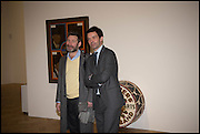 MAT COLLISHAW AND ELLIOTT MCDONALD at the Private view for A Strong Sweet Smell of Incense<br /> A Portrait of Robert Fraser, Curated by Brian Clarke. Pace Gallery. 6 Burlington Gardens. London. 5 February 2015.