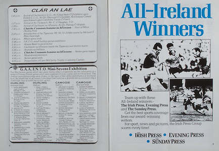 All Ireland Senior Hurling Championship Final,.03.09.1989, 09.03.1989, 3rd September 1989, .Antrim v Tipperary, .03091989AISHCF,.Tipperary 4-24, Antrim 3-9,.The Irish Press, Evening Press, Sunday Press,