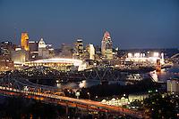 Cincinnati Skyline at Night during Light Up Cincinnati