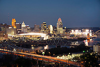 Cincinnati Skyline at Night during Light Up Cincinnati