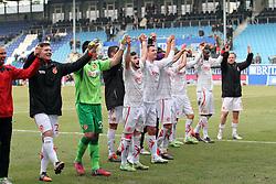 14.02.2015, Brita-Arena, Wiesbaden, GER, 3. FBL, SV Wehen Wiesbaden vs FC Energie Cottbus, 25. Runde, im Bild Cottbuser Spieler bejubeln den Sieg in Wiesbaden //  during the 2nd German Bundesliga 25th round match betweenSV Wehen Wiesbaden and  FC Energie Cottbus at the  Brita-Arena in Wiesbaden, Germany on 2015/02/14. EXPA Pictures © 2015, PhotoCredit: EXPA/ Eibner-Pressefoto/ Weiss<br /> <br /> *****ATTENTION - OUT of GER*****
