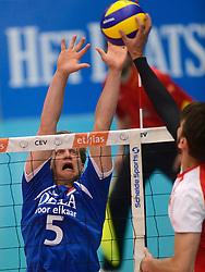 17-05-2013 VOLLEYBAL: BELGIE - NEDERLAND: KORTRIJK<br /> Nederland wint de eerste oefenwedstrijd met 3-0 van Belgie / Jelte Maan<br /> ©2013-FotoHoogendoorn.nl
