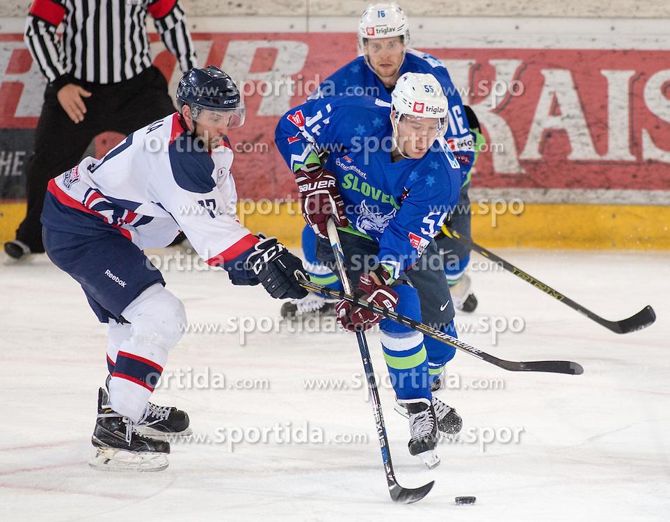 13.02.2016, Olympiaworld, Innsbruck, AUT, Euro Ice Hockey Challenge, Slowakei vs Slowenien, im Bild Vaclav Stupka (SVK), Robert Sabolic (SLO) und Ales Music (SLO) // Vaclav Stupka of Slovakia Robert Sabolic of Slowenia and Ales Music of Slowenia during the Euro Icehockey Challenge Match between Slovakia and Slovenia at the Olympiaworld in Innsbruck, Austria on 2016/02/13. EXPA Pictures © 2016, PhotoCredit: EXPA/ Jakob Gruber