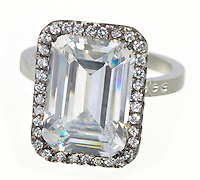 square costume diamond ring surrounded by rhinestones