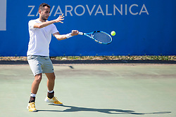Ljubomir Celebic (MNE) play against Nikola Cacic (SRB) at ATP Challenger Zavarovalnica Sava Slovenia Open 2018, on August 4, 2018 in Sports centre, Portoroz/Portorose, Slovenia. Photo by Urban Urbanc / Sportida