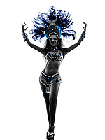one  woman samba dancer dancing silhouette on white background