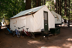 Tent cabin, Curry Village,Yosemite Valley, pines, campgrounds, Yosemite National Park, California, USA.  Photo copyright Lee Foster.  Photo # california121160