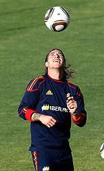 10.06.2010, Sportanlage, Potchefstroom, RSA, FIFA WM 2010, Training Spanien im Bild Spain's Sergio Ramos, EXPA Pictures © 2010, PhotoCredit: EXPA/ Alterphotos/ Acero / SPORTIDA PHOTO AGENCY