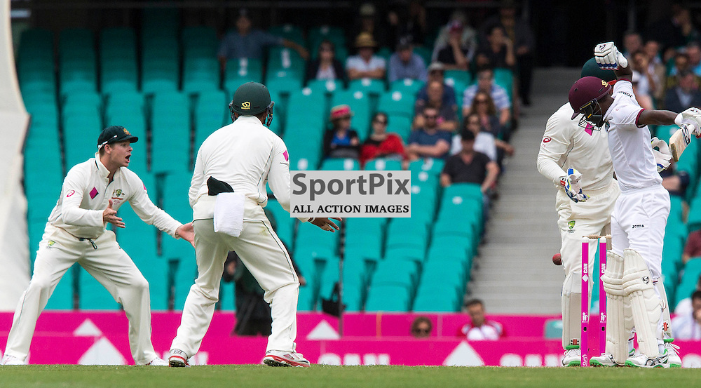 3rd Test Match 2015-16 Day 1, Australia v West Indies, Sydney Cricket Ground; 3 January 2016<br /> West Indian Jermaine Blackwood evades a ball from Australian Nathan Lyon which narrowly misses his stumps