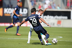 07.08.2016, Voith Arena, Heidenheim, GER, 2. FBL, 1. FC Heidenheim vs FC Erzgebirge Aue, 1. Runde, im Bild Nicky Adler ( FC Erzgebirge Aue ) Robert Strauss ( 1.FC Heidenheim ) // during the 2nd German Bundesliga 1st round match between 1. FC Heidenheim and FC Erzgebirge Aue Voith Arena in Heidenheim, Germany on 2016/08/07. EXPA Pictures © 2016, PhotoCredit: EXPA/ Eibner-Pressefoto/ Langer<br /> <br /> *****ATTENTION - OUT of GER*****