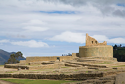 South America, Ecuador.  Ingapirca, Temple of the Sun, also known as The Castle (El Castillo), ruins of Inca settlement built in 15th century.