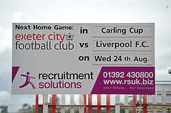 EXETER, ENGLAND - Wednesday, August 24, 2011: A board outside of St James Park advertising the Football League Cup 2nd Round match between Exeter City and Liverpool. (Pic by David Rawcliffe/Propaganda)