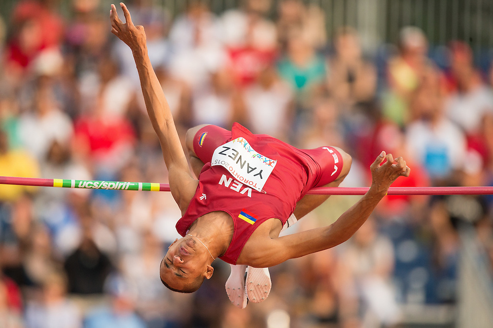 Eure Yanez of Venezuela competes in the high jump at the 2015 Pan American Games at CIBC Athletics Stadium in Toronto, Canada, July 25,  2015.  AFP PHOTO/GEOFF ROBINS