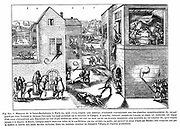 French Religious Wars 1562-1598. Massacre of St Bartholemew, Paris, 24 Aug 1572. Huguenot leader Gaspard de Coligny (1519-1572) wounded by shot fired from window, 22 Aug, left. Right, assassinated in bed, body tossed from window.  Charles IX (1550-1574) King of France from 1559, playing tennis top left, instigated massacre. Engraving.