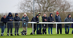DERBY, ENGLAND - Friday, March 8, 2019: Jounalists during the FA Premier League 2 Division 1 match between Derby County FC Under-23's and Liverpool FC Under-23's at the Derby County FC Training Centre. Dominic King, Paul Joyce, Neil Jones, Ian Doyle, Carl Markham. (Pic by David Rawcliffe/Propaganda)
