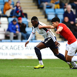 TELFORD COPYRIGHT MIKE SHERIDAN 9/3/2019 - Amari Morgan Smith of AFC Telford shoots under pressure from Zehn Mohammed during the National League North fixture between AFC Telford United and FC United of Manchester (FCUM) at the New Bucks Head Stadium