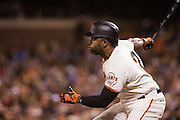 San Francisco Giants center fielder Denard Span (2) reacts after hitting a pitch against the Colorado Rockies at AT&T Park in San Francisco, Calif., on September 27, 2016. (Stan Olszewski/Special to S.F. Examiner)