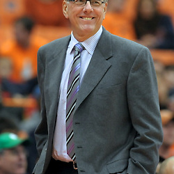 Syracuse Orange head coach JIM BOEHEIM smiles as the end of the bench players take the court with a big lead against the Colgate Raiders during the second half at the Carrier Dome in Syracuse, New York. Number 6 ranked Syracuse defeated Colgate 87-51 to stay undefeated.