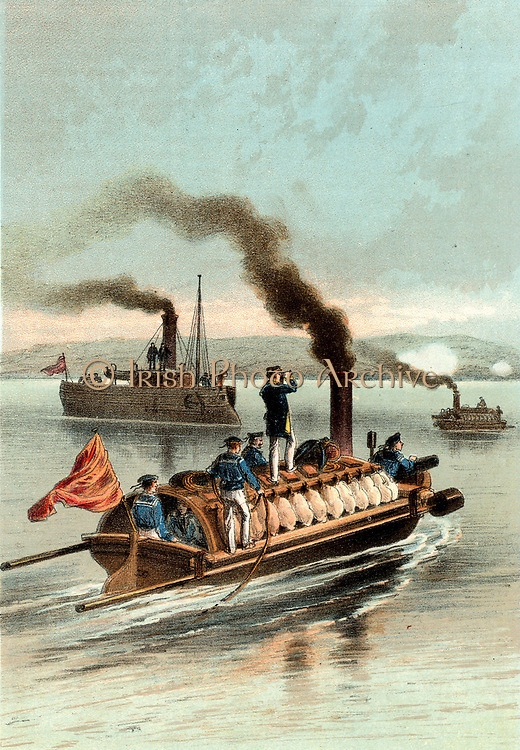 Russian torpedo boats on the Danube. Russo-Turkish War, 1877. Chromolithograph.