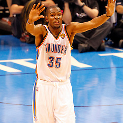 Jun 14, 2012; Oklahoma City, OK, USA;  Oklahoma City Thunder small forward Kevin Durant (35) reacts during the fourth quarter of game two in the 2012 NBA Finals against the Miami Heat at Chesapeake Energy Arena. Miami won 100-96. Mandatory Credit: Derick E. Hingle-US PRESSWIRE