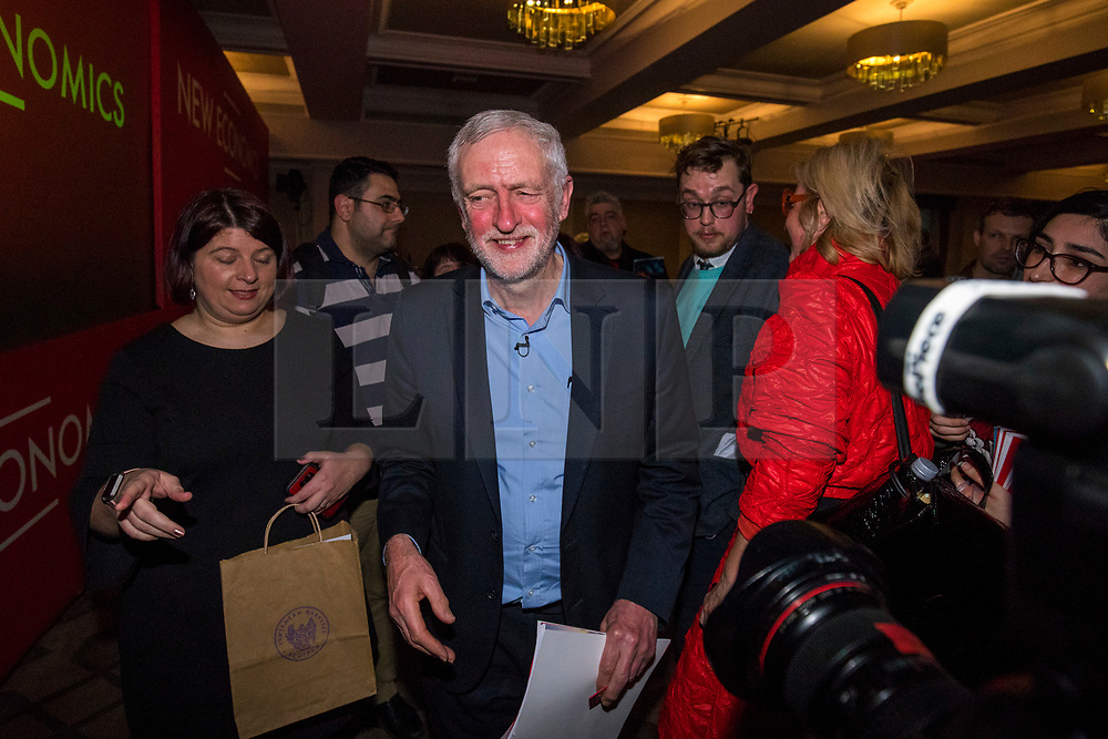 © Licensed to London News Pictures. 10/02/2018. London, UK. Labour Party Leader Jeremy Corbyn at the Labour Party conference on alternative models of ownership following the collapse of construction firm Carillion and the termination of the East Coast rail franchise. Photo credit: Rob Pinney/LNP