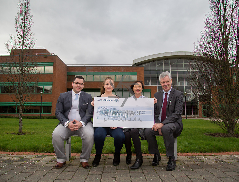 10.03.2017<br /> UL, Kemmy Business School Cheque presentations to Pieta House and Temple Street Childrens Hospital.<br /> Pictured are back left to right, Romain Fachero, Economics Dept Rep, Elisabeth Small, Accounting Rep, Annette Cahill, Pieta House and Dr. Philip O'Regan, Dean Kemmy Business School. Picture: Alan Place