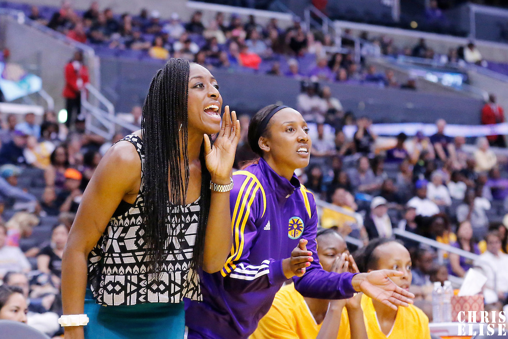 18 May 2014: Los Angeles Sparks forward Nneka Ogwumike (30) is seen on the bench during the Phoenix Mercury 74-69 victory over the Los Angeles Sparks, at the Staples Center, Los Angeles, California, USA.
